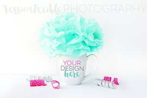 Teal Pom Coffee Cup Styled Photo