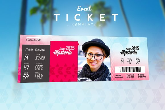 Event Ticket Template Templates on Creative Market – Event Ticket Template