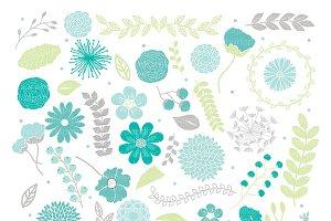 Spring Flower spring teal clipart