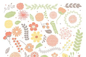 Spring flowers clipart orange/green