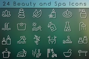 Beauty and spa icon set