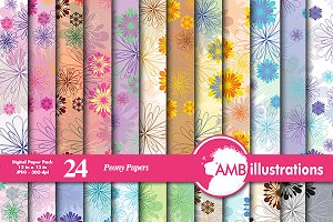 24 Peony digital papers AMB-406