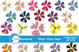 Colorful Violets Clipart AMB-407