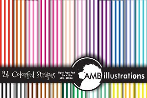 24 stripes digital papers AMB-408