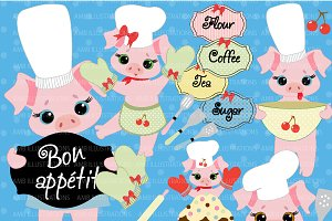 Baking Day Pigs Clipart AMB-514