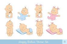 Happy babies vector set