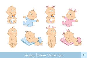 Happy babies vector set