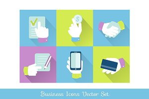 Business and finance icons flat desi