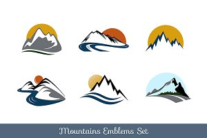 Mountains emblems set