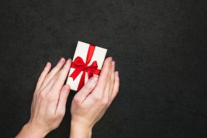 Gift box with hand