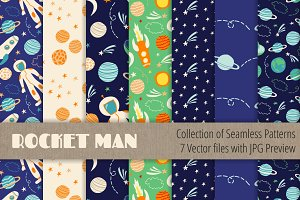Boy Seamless Patterns Vector Set
