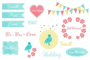 cute elements set for wedding invita