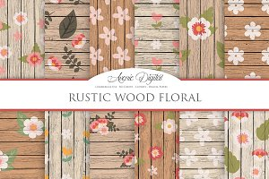 Rustic Wood Floral Backgrounds