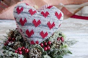 corazon de tela navidad
