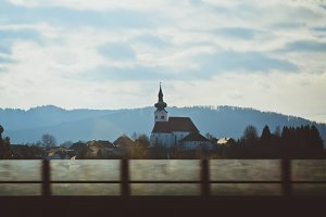 Old Church from a Moving Car