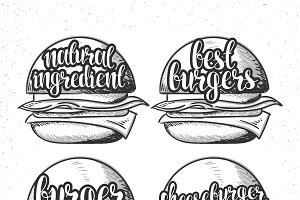 Set handmade burgers and calligraphy