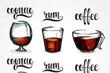 Color cognac in glass and calligraph