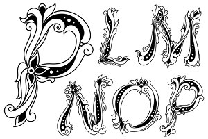 Flowers alphabet with outline letter
