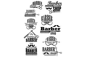 Black vintage barber shop logo and e