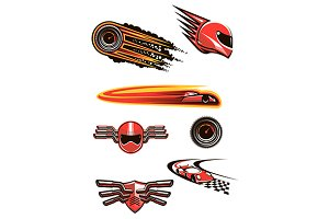 Motorcycle and car racing symbols