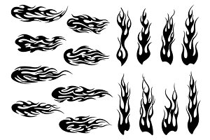 Tribal black fire flames tattoo desi