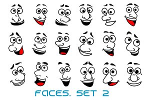 Cartoon human faces happy emotions