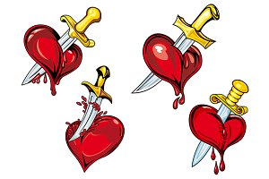 Cartoon heart with dagger tattoo des