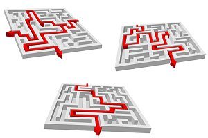 Gray mazes or labyrinths with red pr