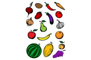 Organic ripe cartooned vegetables an
