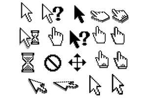 Pixel cursor icons in black and whit