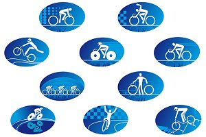 Blue bicycle sport icons with reflec
