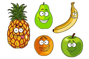 Cartoon apple, banana, orange, pinea