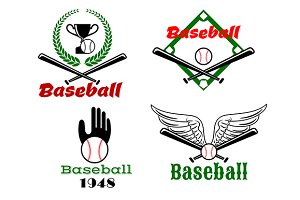 Baseball emblems with crossed bats a