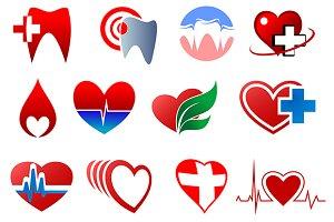 Cartoon teeth and hearts for dentist