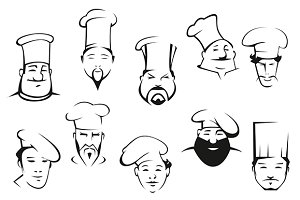 Portraits of chefs or cooks in carto