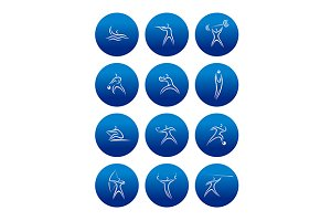 Abstract sporting pictograms with si