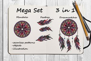 SET Dreamcatcher, feathers, mandala