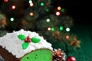 Christmas Matcha green tea cake