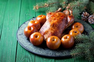 Christmas roast duck with baked apples