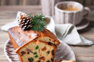 Traditional fruitcake for Christmas