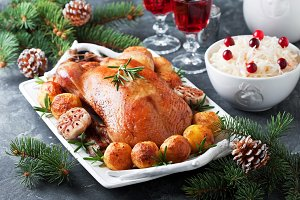 Christmas roast duck with baked potatoes