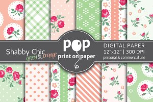 Shabby Chic 12 digital paper - green