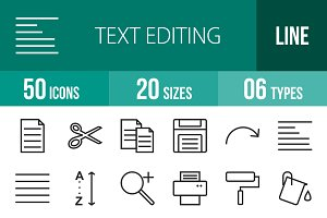 50 Text Editing Line Icons