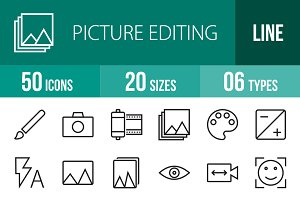 50 Picture Editing Line Icons