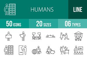 50 Humans Line Icons