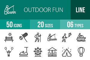 50 Outdoor Fun Line Icons