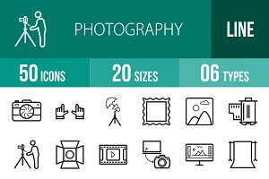 50 Photography Line Icons