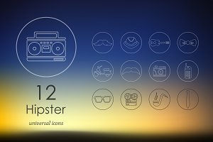 12 hipster line icons
