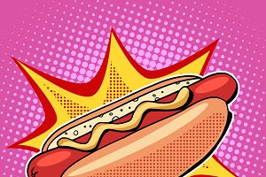 Hot dog fast food vector pop art