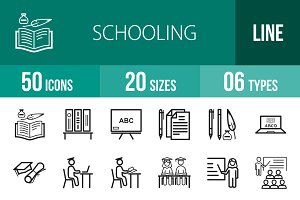 50 Schooling Line Icons